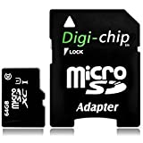 Digi-Chip 64GB Micro-SD Memory Card UHS-1 Class 10. Made With Samsung High Speed Memory Chips. For HTC Desire 610, 816 & HTC Desire Eye Mobile Phones