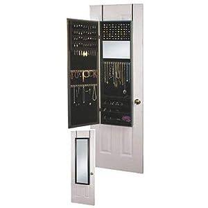 Over the Door Jewelry Armoire Mirror Cabinet in Black