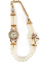 Evana Sleek Party Wear Pearl White Flower Analog Watch - For Women