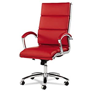 Alera ALENR4139 Neratoli High-Back Swivel/Tilt Chair Red Soft-Touch Leather Chrome Frame, Red