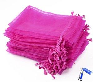 Pack of 50 Hot Pink Organza Drawstring Gift Bag 4.5 x 3.5