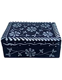 QraftINK Soap Stone Hand Carved Black Jewellery Box