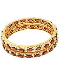 Vinayak Gems Stone Silver, Alloy Garnet 18K Yellow Gold Plated Bangle Set