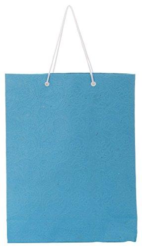 Utsav Kraft Paper 3 Ltrs Light Blue Reusable Shopping Bags (pack Of 10)