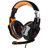 EACH G2000 Gaming Headphone Earphone Headband With Mic LED PC Game Orange