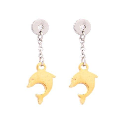 Vendee Fashion Dolphin Earring Silver & Golden Steel For Women (6112(A) )
