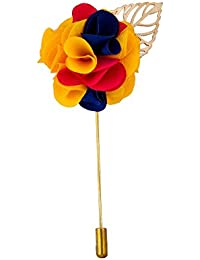 Avaron Projekt Handmade Yellow Blue & Red Flower Bunch With Gold Leaf Lapel Pin /Brooch For Men