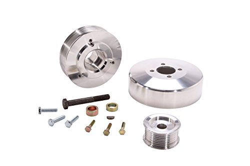 BBK 15550 Underdrive Performance Pulley Kit – CNC Machined Aluminum 8-Rib for Ford F Series Truck, Expedition 4.6L, 5.4L – 3 Piece