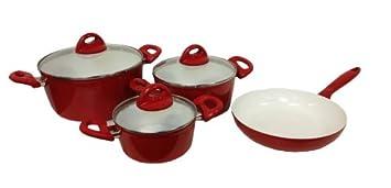 Michelino Batterie De Cuisine En Ceramique 7 Pieces Rouge