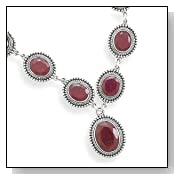 Oval Faceted Rough-cut Ruby Sterling Silver Necklace