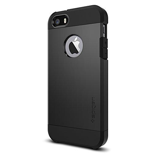 Coque iPhone SE, Spigen Coque iPhone 5S / 5 [Tough Armor] Protezione US Military Grade [Black] Air Cushion Tecnologia di Assorbimento, Coque Apple iPh...