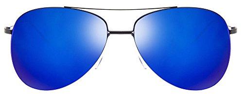John Jacobs JJ 3317 Matte Black Blue Mirror C16 Aviator Sunglasses (103070)