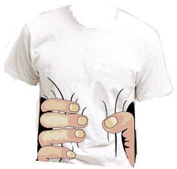 おもしろ3DTシャツ 掴まれた! Lサイズ 半袖 白