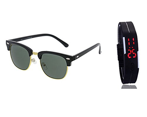 ZIUM Combo Of CLubmaster Sunglasses And LED Band