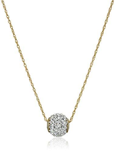 10k Gold Swarovski Elements Slide Ball Pendant Necklace, 18