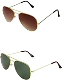 YOUNKY COMBO OF BROWN AVIATOR SUNGLASSES AND YOUNKY GREEN AVIATOR SUNGLASSES PAIR - WITH 2 BOXES