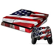 Elton American Flag Theme 3M Skin Sticker Cover For PS4 Console And Controllers