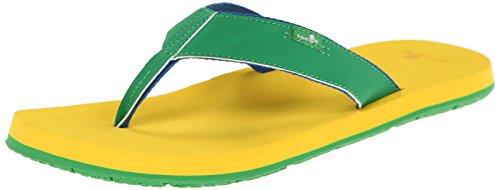 Sanuk Men's Longitude Flip Flop, Green/Yellow/Royal, 7 M US