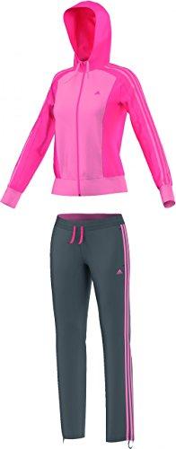 adidas New Young Knit - Chándal para mujer, color rosa / gris, talla L