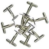Alcoa Prime 10 PCS Mens Business Copper Cuff Links Base DIY Wedding Shirt Silver 12MM