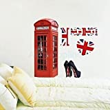 3D Telephone Booth Other Accs Wall Stickers Kids Room Decal Mural 70 X 50 Cm