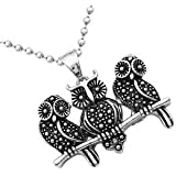 Fashion Cute Black Owls Antique Silver Pendant Necklace Long Chain Jewelry