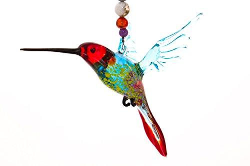 Hummingbird Suncatcher Glass Yard Ornament