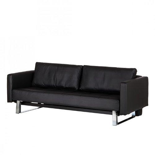 Schlafsofa Arthur Lederoptik Schwarz - 143x200 cm- 3-Sitzer Schlafcouch Klappsofa Klappcouch Sofa Couch Home24 NEU