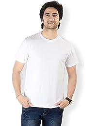 Neevov Men's Round Neck Cotton White T-Shirt