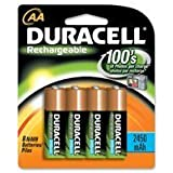 Duracell Rechargeable AA NiMH Batteries 2450mAh 8-Count Package (Pack Of 2) Total 16 Batteries + FREE BATTERY...