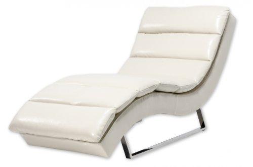 Miraseo MYHHRS62C Niko Chaiselongues - Relaxliege, hochwertiger Loungestuhl Fernsehsessel in Napalonleder Creme, edler design comfort TV Liegesessel mit den Maßen: 168 x 73 x 86 cm
