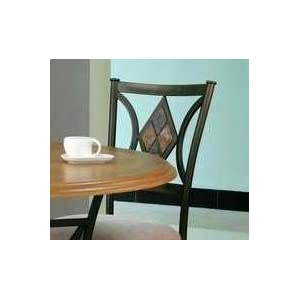 5 Pc Black Metal Dining Room Set with Wood Top