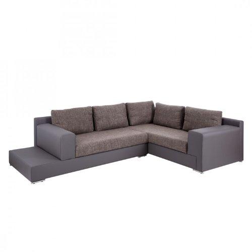 Ecksofa Eldorado Lederoptik/Strukturstoff Grau/Braun - Ablage links - Wohnlandschaft Polsterecke Sofa Couch Garnitur Home24 NEU