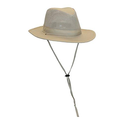 Men's Outback Safari Sun Hat W/ Chin Strap, Mesh Crown, 50+ UV Sun Protection M