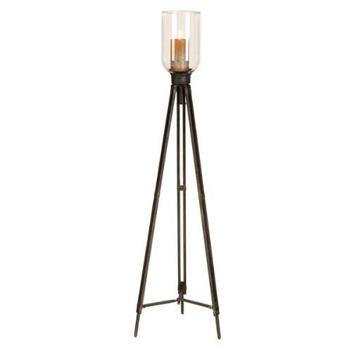Antiqued 50 Tripod Floor Standing Pillar Candle Holder With Clear Glass Top