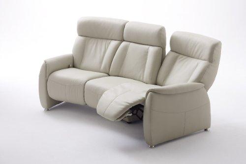 123-66026 Sofa, 3-Sitzer, mit Liegefunktion, Leder altweiss und schwarz (altweiss)