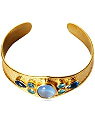 Viva Designer Deepika Padukone Style Natural Stones Bangle With Gold Two Tone Plated By Viva The Company For Women