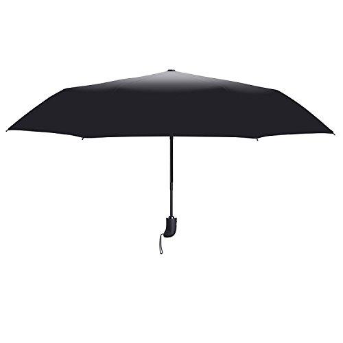 Coomatec Parapluie Pliant - Solide Incassable - Résistant Au Vent - Ouverture et Fermeture Automatique - Noir Classique de Voyage Parapluies Pliable A...