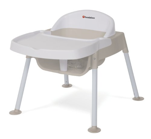 Foundations Worldwide Secure Sitter Tip And Slip Proof Feeding Chair With Seat White/Tan 9