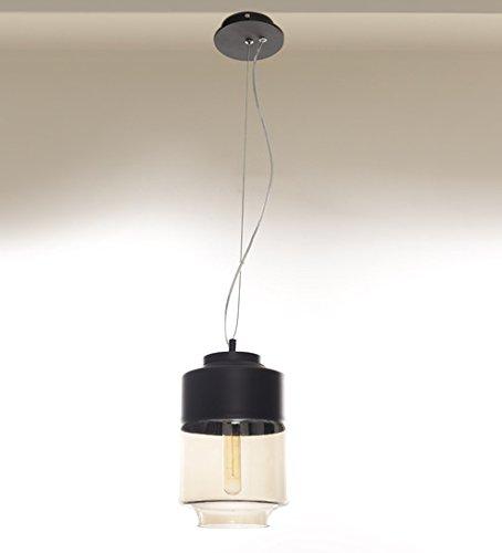 Black And Amber Glass Slim Hanging Light