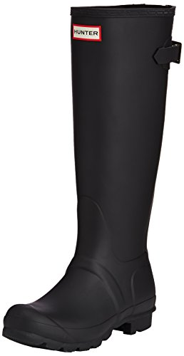 Hunter Womens Original Back Adjustable Black Rain Boot - 8