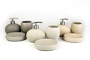 ... Set per bagno composto da 3 pezzi, effetto pietra bianco: Amazon.it