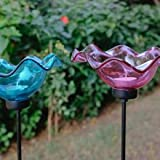 Iron Garden Stake With Glass Flower - Blue & Pink