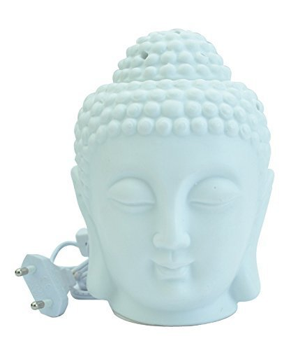 Crazy Sutra Ceramic Matte White Buddha Electric Aroma Oil Diffuser With Musk Aroma Oil Liquid Air Freshener