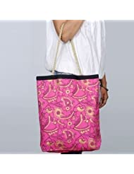 Pick Pocket Fuchsia Canvas Tote Bag With Golden Handle