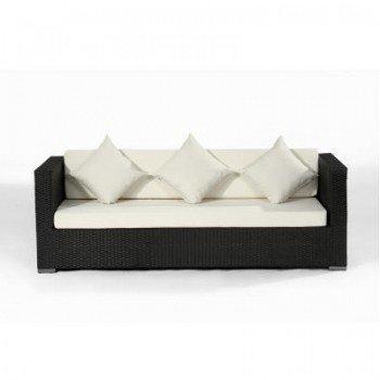 Polyrattan Sofa 5061 3-Sitzer schwarz, Größe ca. 200 x 80 x 70 cm, Farbe Schwarz, 5061-3Sitzer schwarz