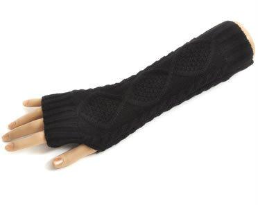 防寒対策 ハンド ウォーマー アーム ウォーマー ロング 格子模様 アラン編み スマホ対応 指無し 手袋 (ブラック)