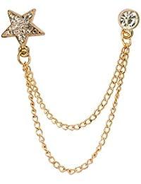 Gold Star With Swarovski Detailing Brooch/Shirt Stud/Lapel Pin For Men