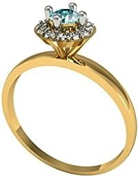 Suvarnadeep Floral Design Blue & White Swarovski Crystal 18k YellowGold - B01N4D2QC0
