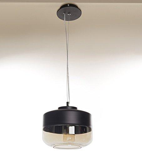 Black And Amber Glass Flat Hanging Light